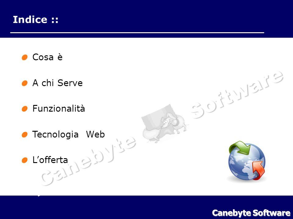 Canebyte Software Indice Indice :: Cosa è A chi Serve Funzionalità