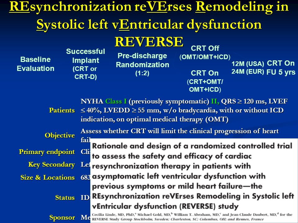 REsynchronization reVErses Remodeling in Systolic left vEntricular dysfunction REVERSE