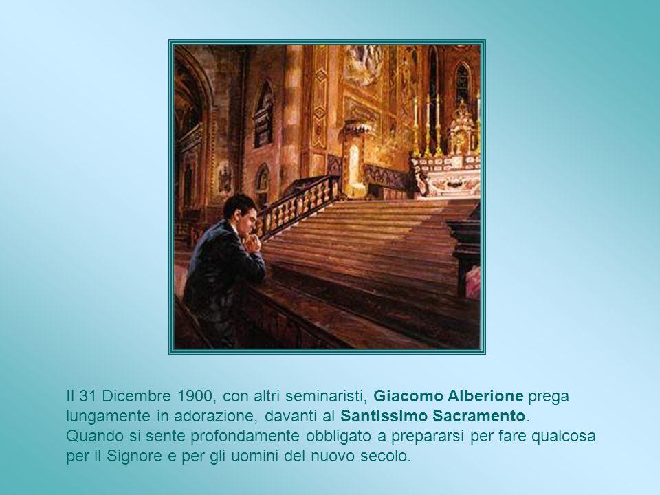 Il 31 Dicembre 1900, con altri seminaristi, Giacomo Alberione prega lungamente in adorazione, davanti al Santissimo Sacramento.