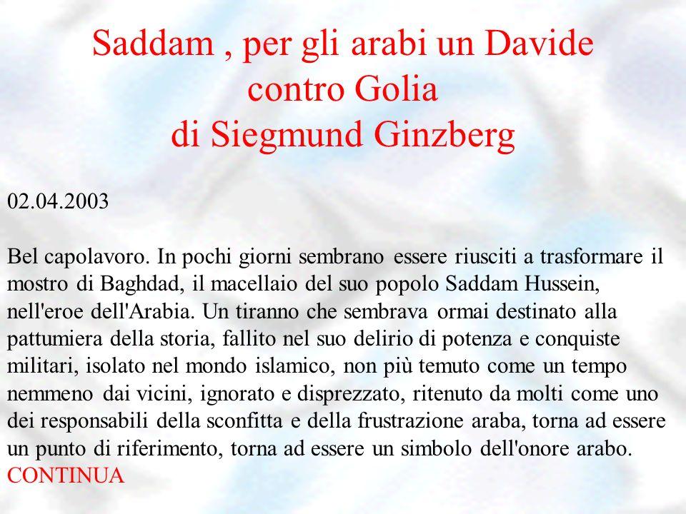 Saddam , per gli arabi un Davide contro Golia di Siegmund Ginzberg