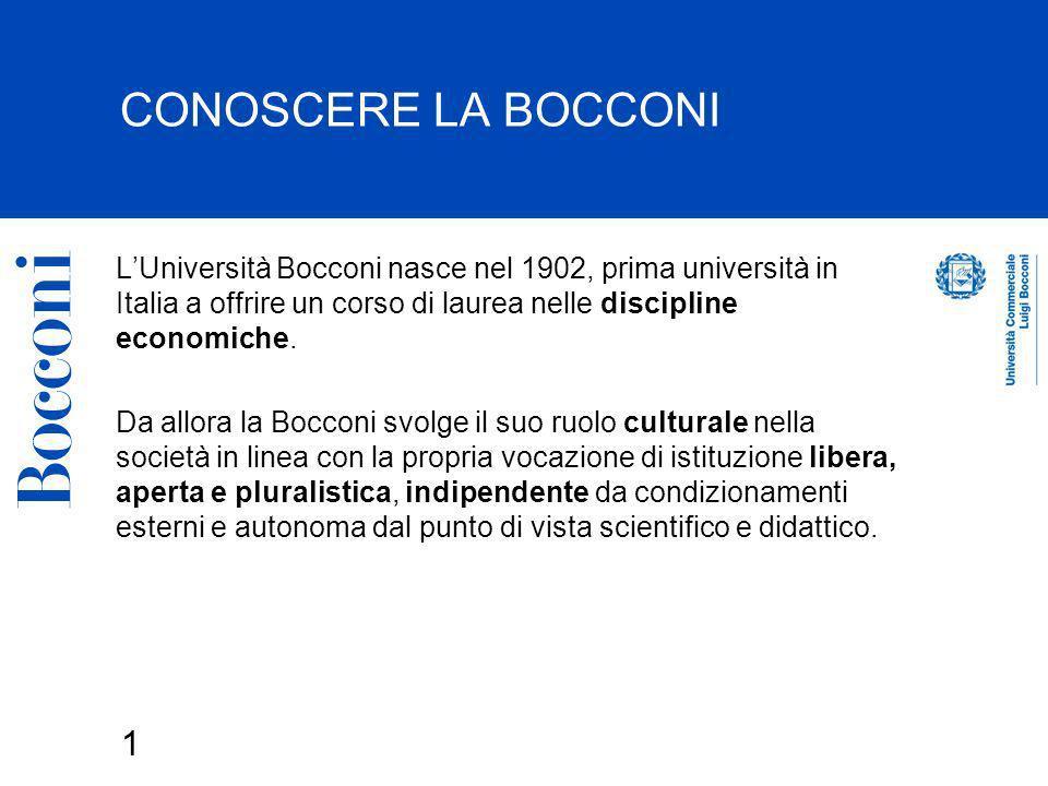 CONOSCERE LA BOCCONIL'Università Bocconi nasce nel 1902, prima università in Italia a offrire un corso di laurea nelle discipline economiche.