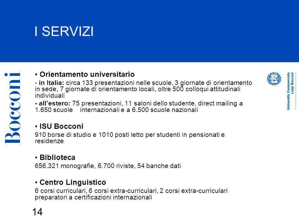 I SERVIZI Orientamento universitario ISU Bocconi Biblioteca