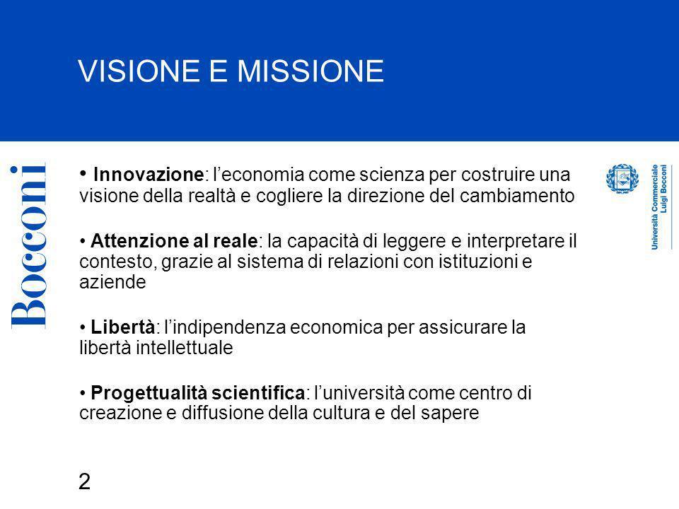 VISIONE E MISSIONE Innovazione: l'economia come scienza per costruire una visione della realtà e cogliere la direzione del cambiamento.