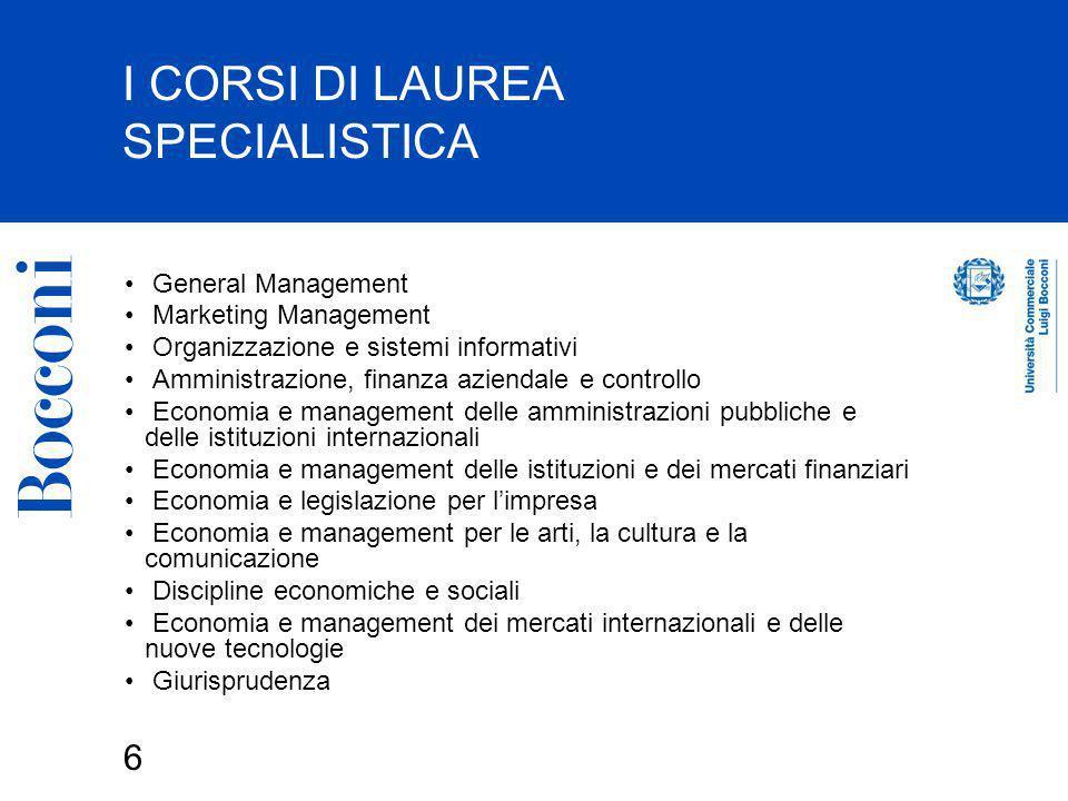 I CORSI DI LAUREA SPECIALISTICA