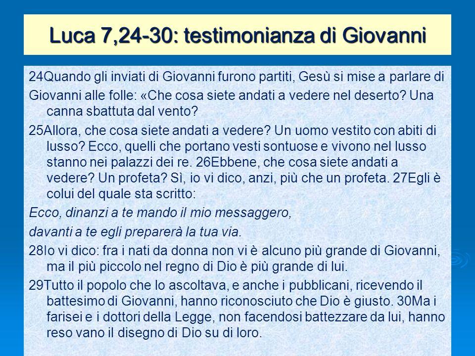 Luca 7,24-30: testimonianza di Giovanni
