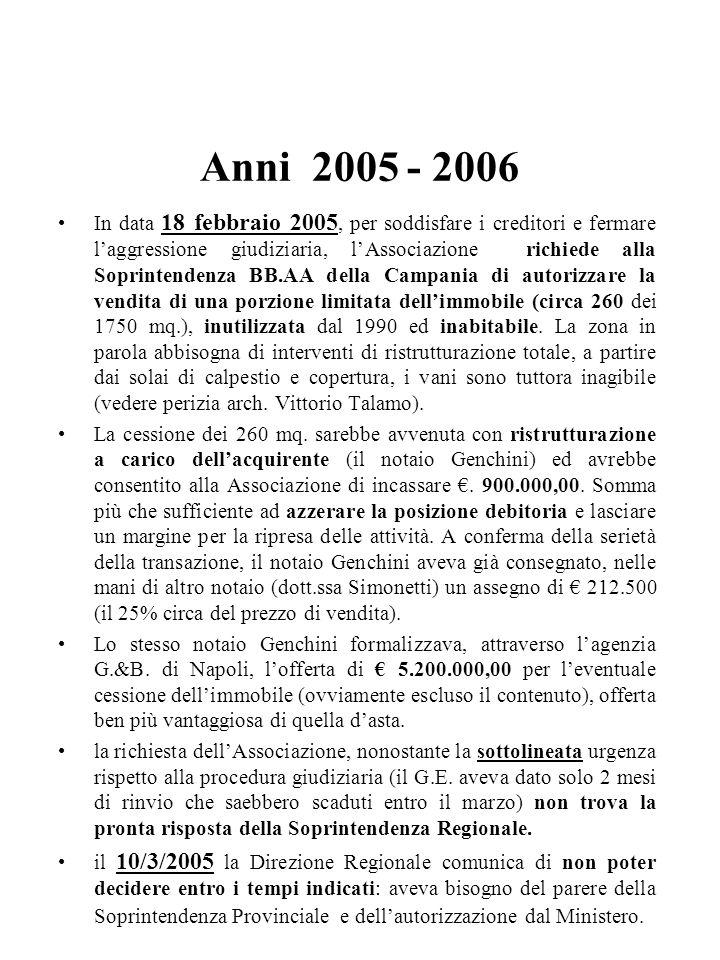 Segue In data 18/7/2002 (n°53 Registro dei Decreti) il M.Beni A.e Culturali, decreta il seguente vincolo (D.Lgs. 490/99):