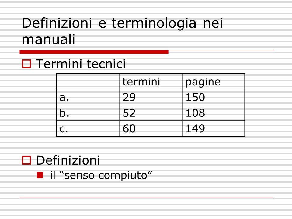 Definizioni e terminologia nei manuali