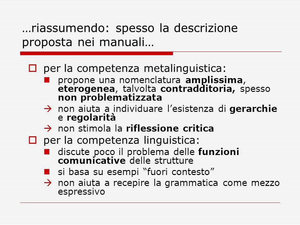 …riassumendo: spesso la descrizione proposta nei manuali…