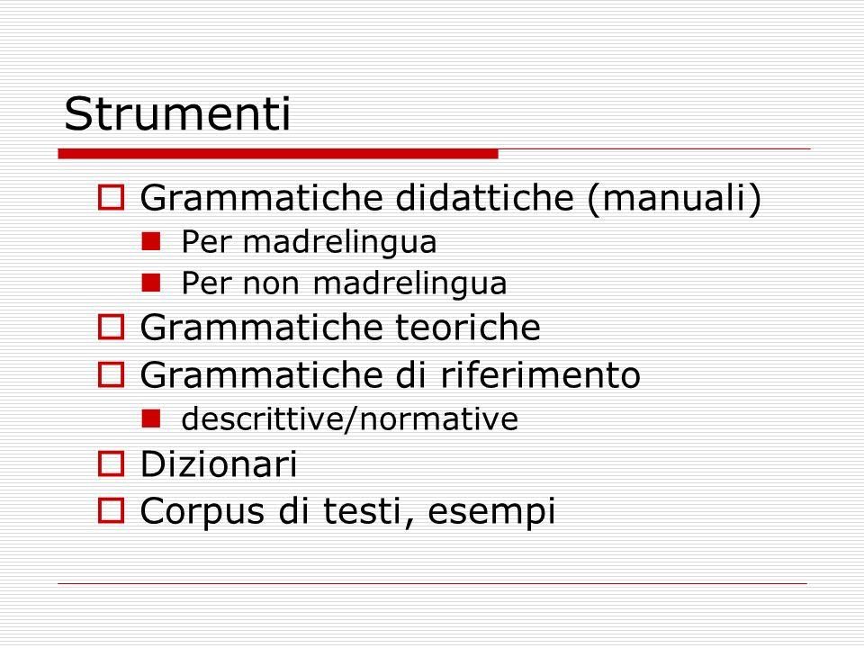 Strumenti Grammatiche didattiche (manuali) Grammatiche teoriche