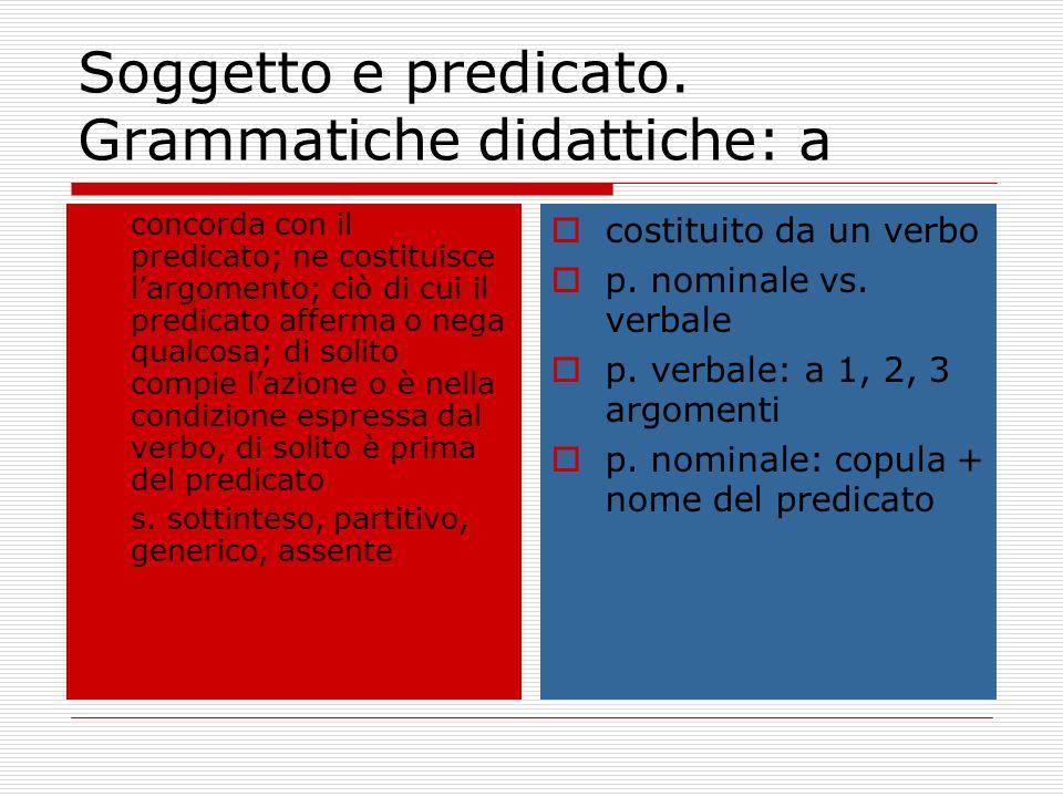 Soggetto e predicato. Grammatiche didattiche: a