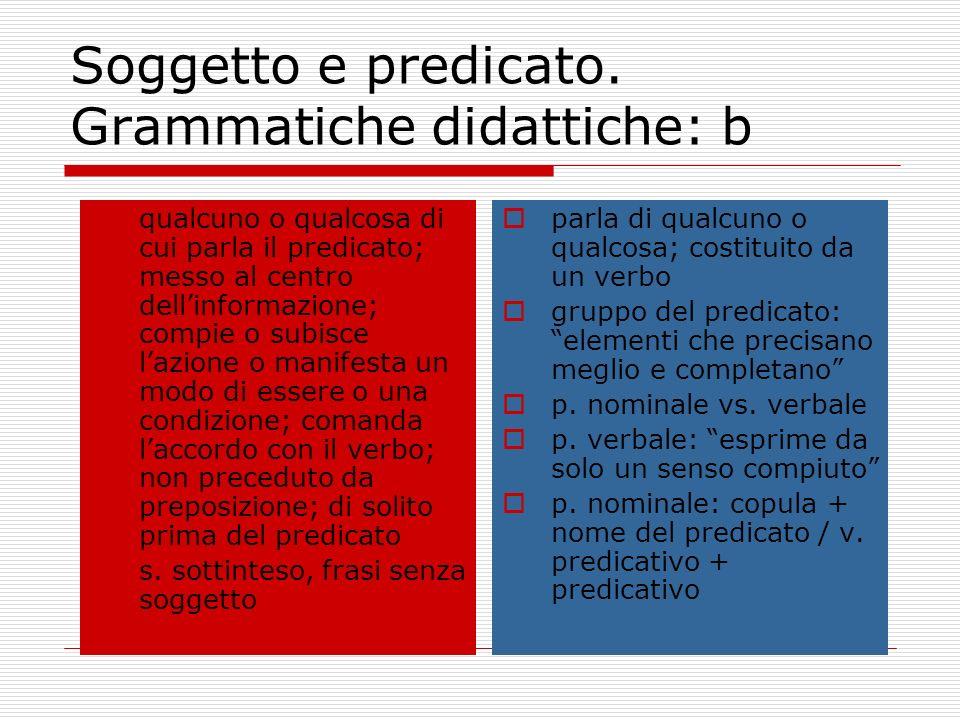 Soggetto e predicato. Grammatiche didattiche: b