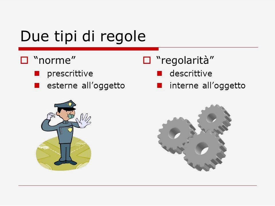 Due tipi di regole norme regolarità prescrittive
