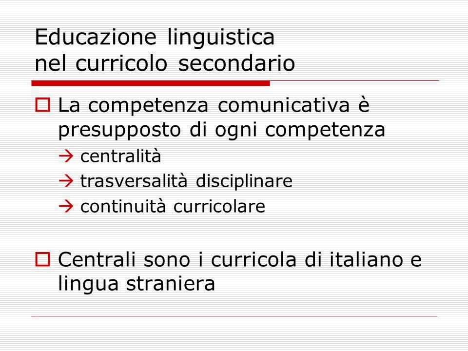 Educazione linguistica nel curricolo secondario