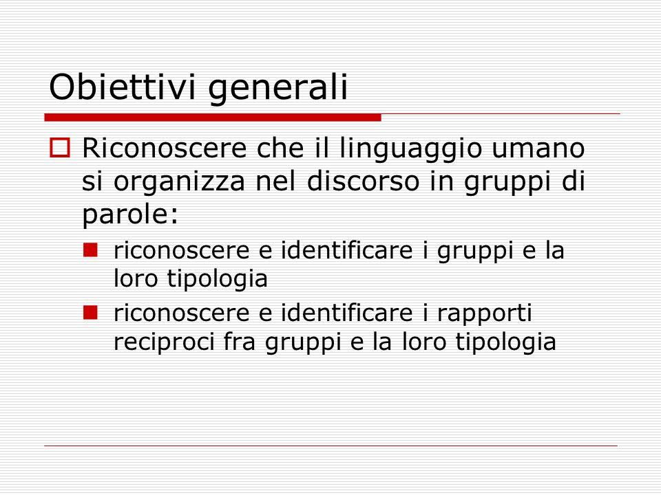 Obiettivi generali Riconoscere che il linguaggio umano si organizza nel discorso in gruppi di parole: