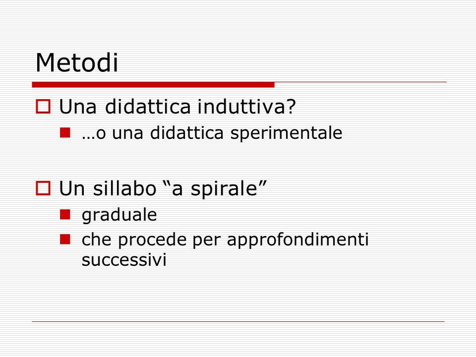 Metodi Una didattica induttiva Un sillabo a spirale
