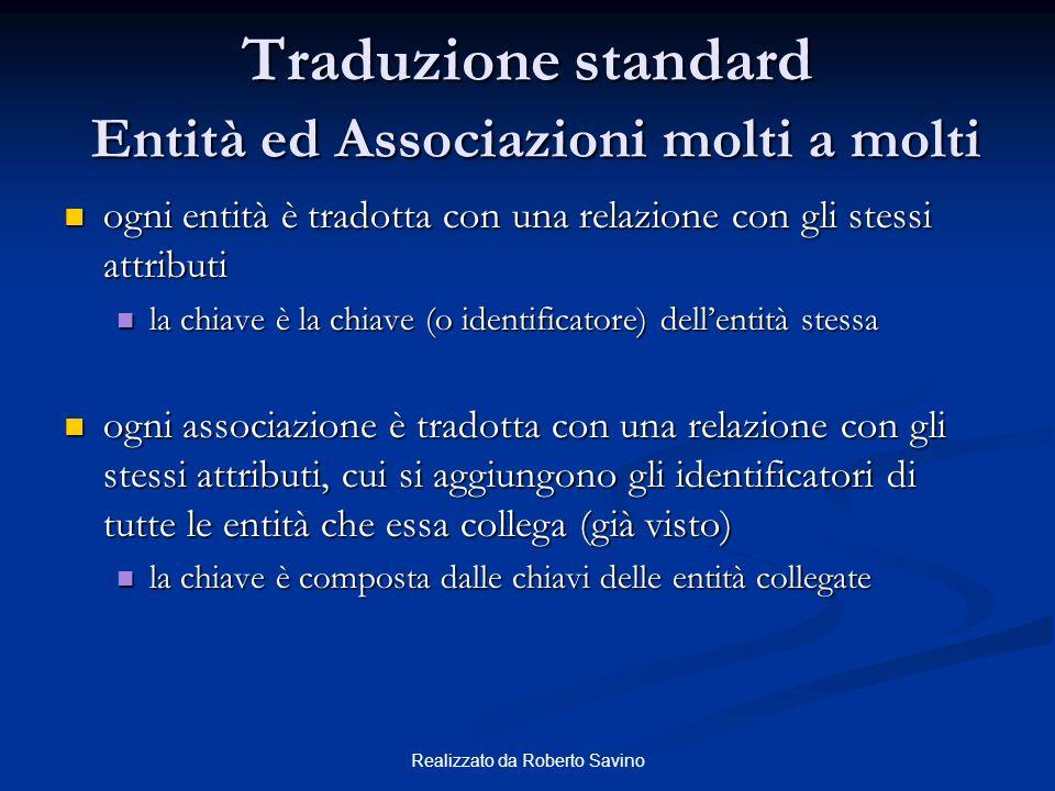 Traduzione standard Entità ed Associazioni molti a molti