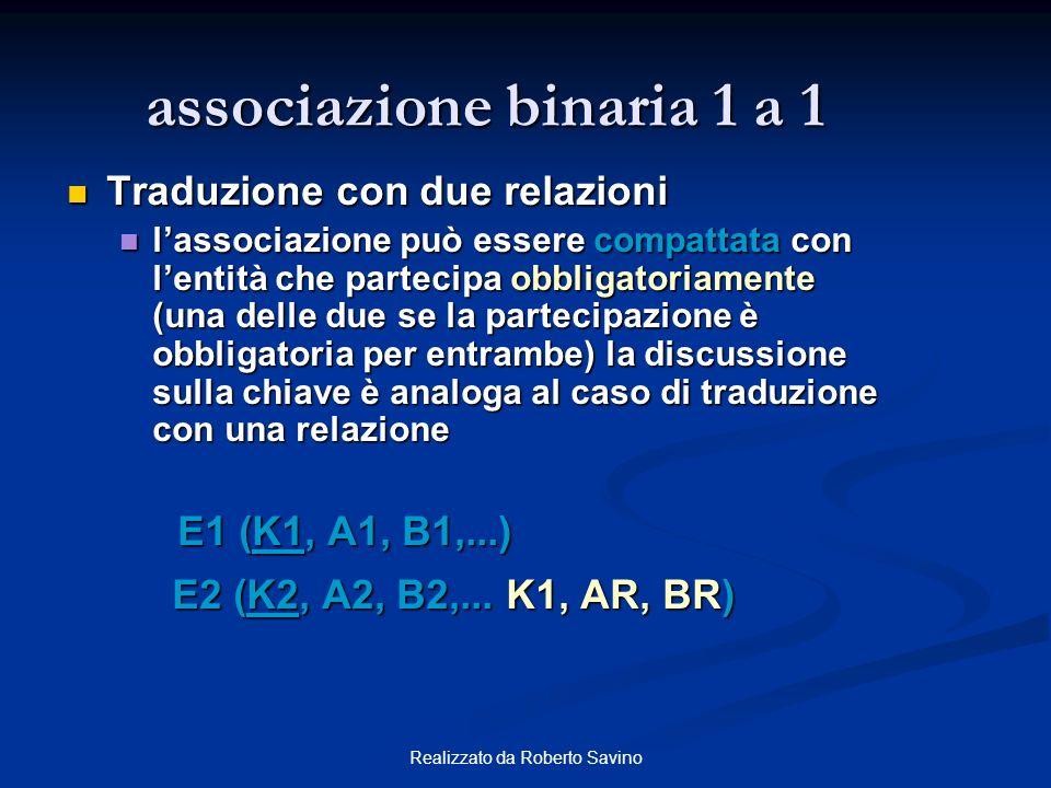 associazione binaria 1 a 1