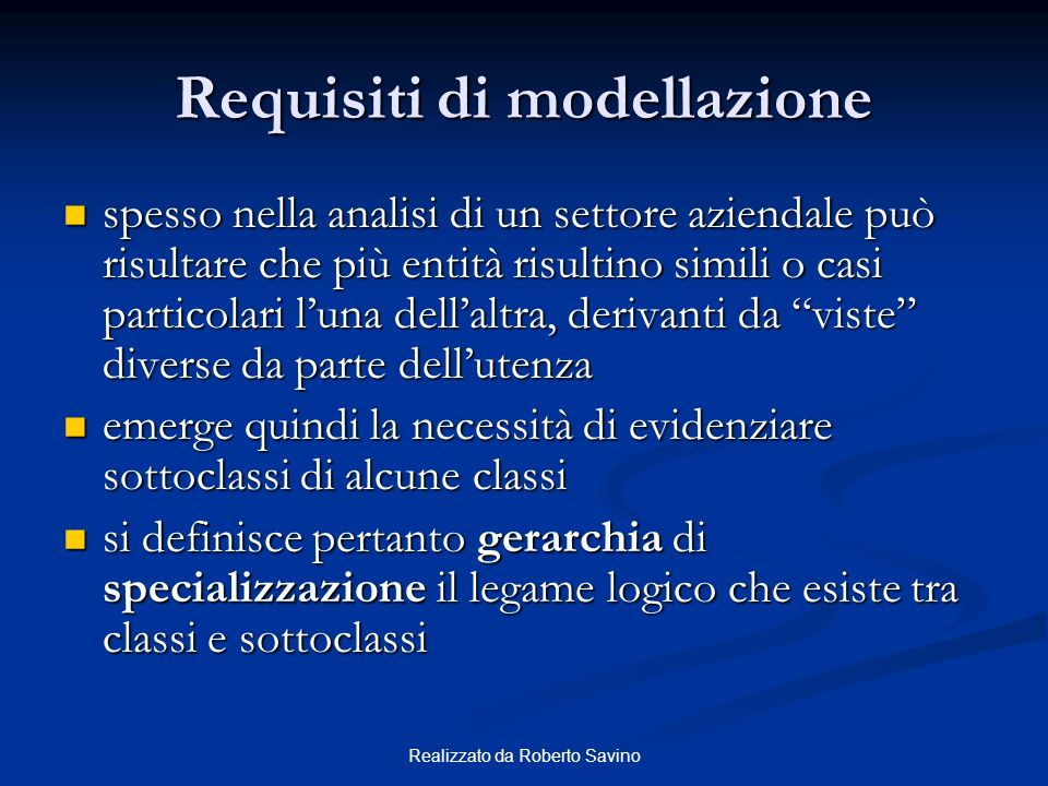 Requisiti di modellazione