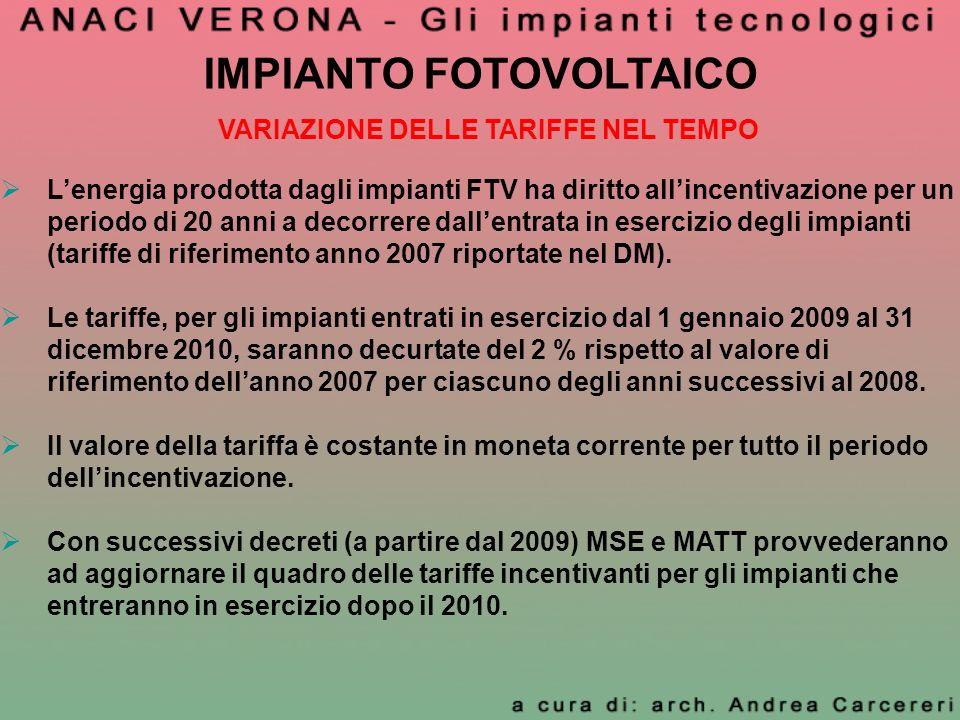 IMPIANTO FOTOVOLTAICO VARIAZIONE DELLE TARIFFE NEL TEMPO