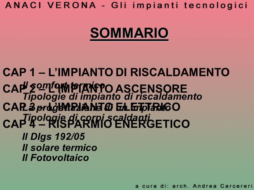 SOMMARIO CAP 1 – L'IMPIANTO DI RISCALDAMENTO