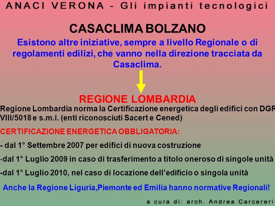 CASACLIMA BOLZANO REGIONE LOMBARDIA