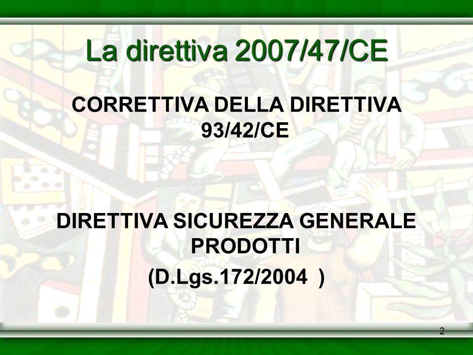 La direttiva 2007/47/CE CORRETTIVA DELLA DIRETTIVA 93/42/CE