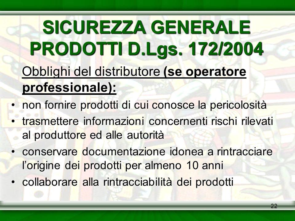 SICUREZZA GENERALE PRODOTTI D.Lgs. 172/2004