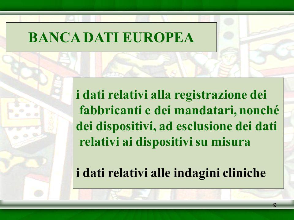 BANCA DATI EUROPEA i dati relativi alla registrazione dei