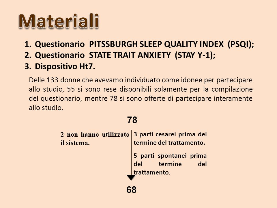 Materiali Questionario PITSSBURGH SLEEP QUALITY INDEX (PSQI);