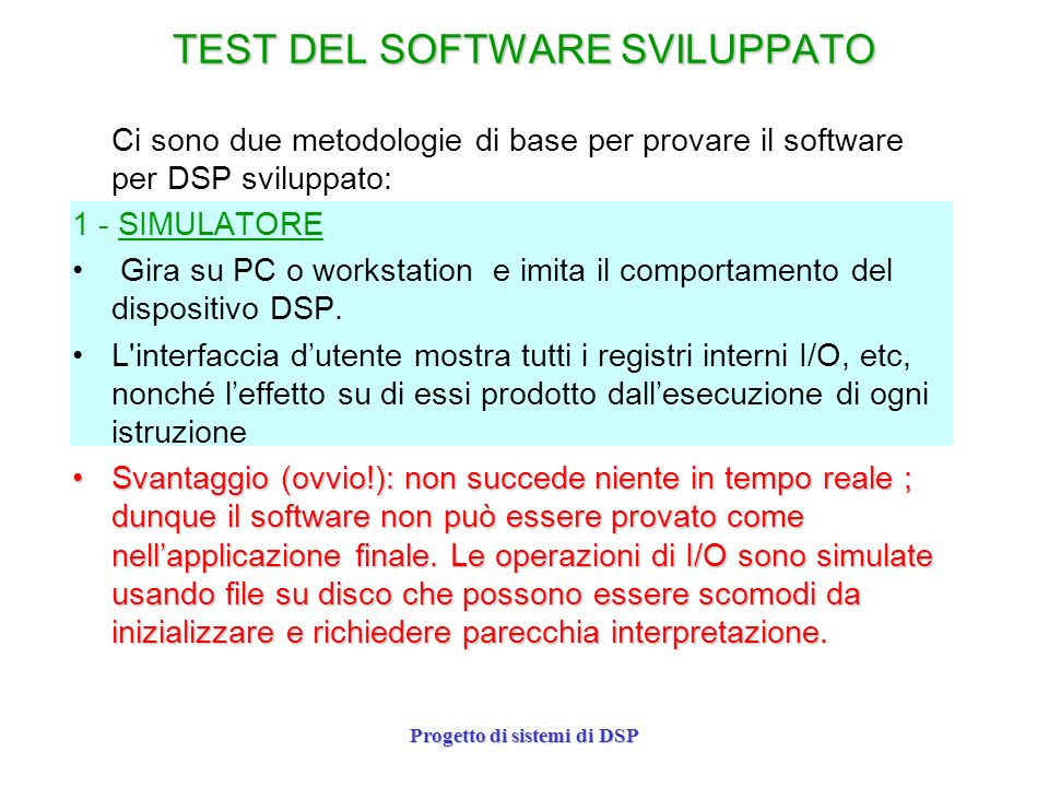 TEST DEL SOFTWARE SVILUPPATO