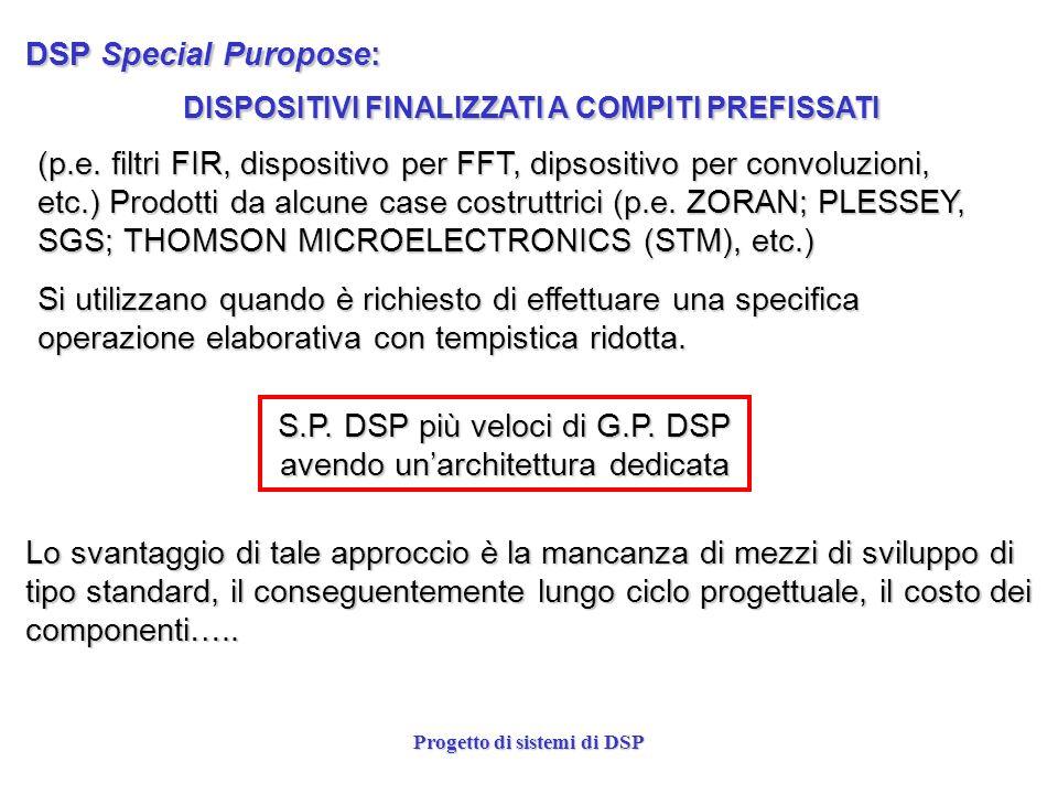 S.P. DSP più veloci di G.P. DSP avendo un'architettura dedicata