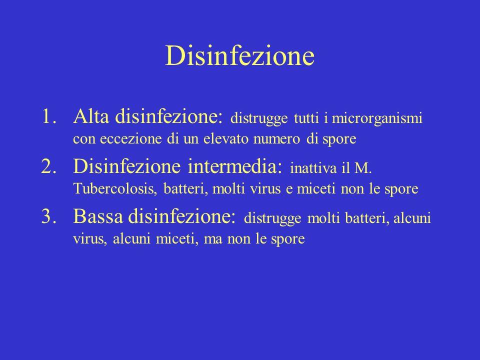 Disinfezione Alta disinfezione: distrugge tutti i microrganismi con eccezione di un elevato numero di spore.
