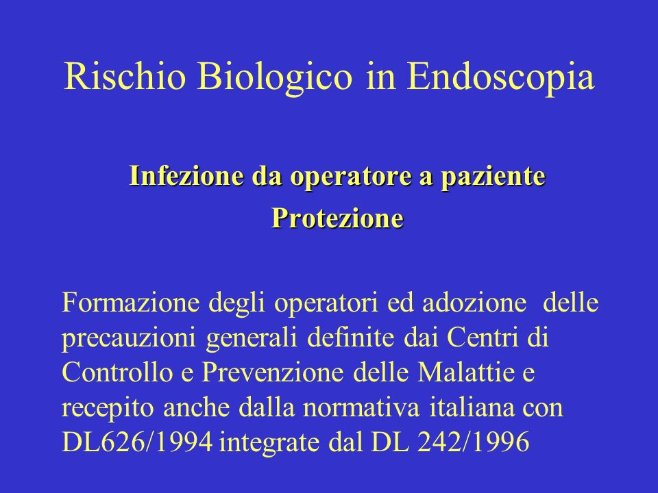 Rischio Biologico in Endoscopia