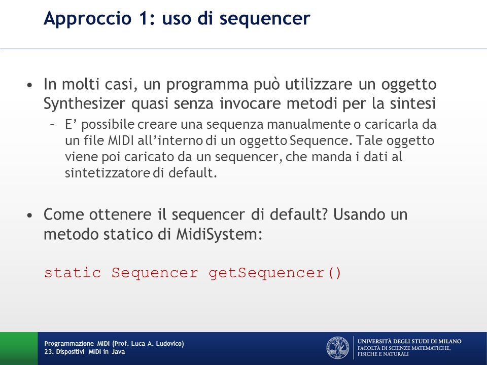 Approccio 1: uso di sequencer