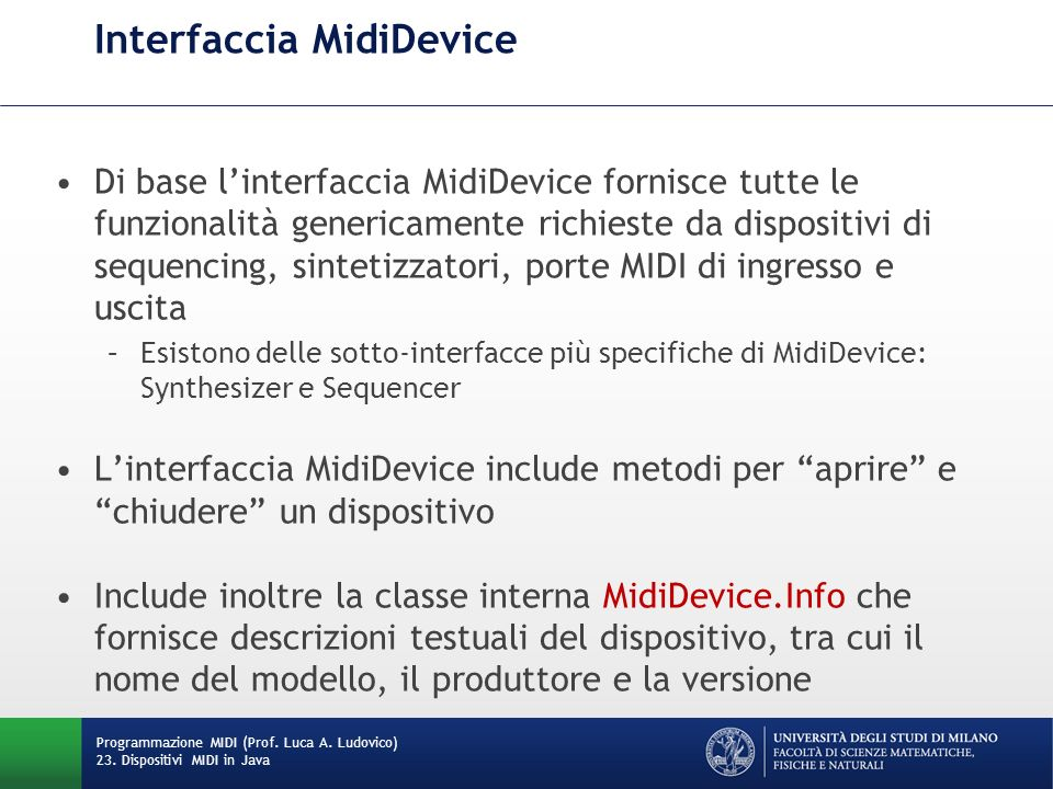Interfaccia MidiDevice