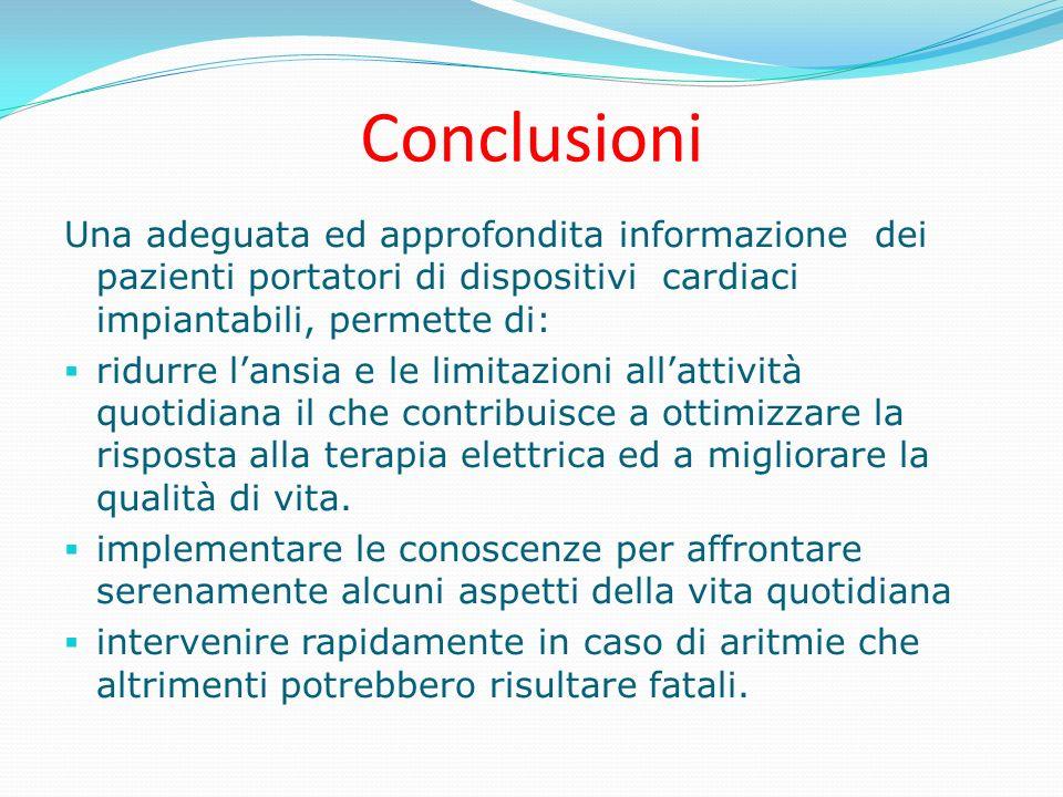 Conclusioni Una adeguata ed approfondita informazione dei pazienti portatori di dispositivi cardiaci impiantabili, permette di:
