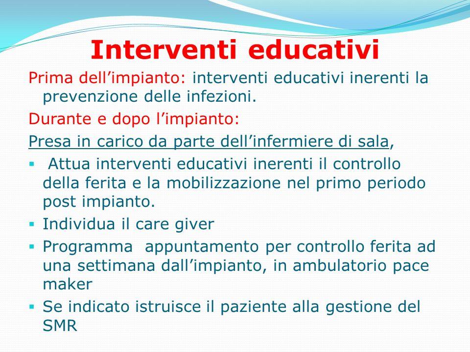 Interventi educativi Prima dell'impianto: interventi educativi inerenti la prevenzione delle infezioni.