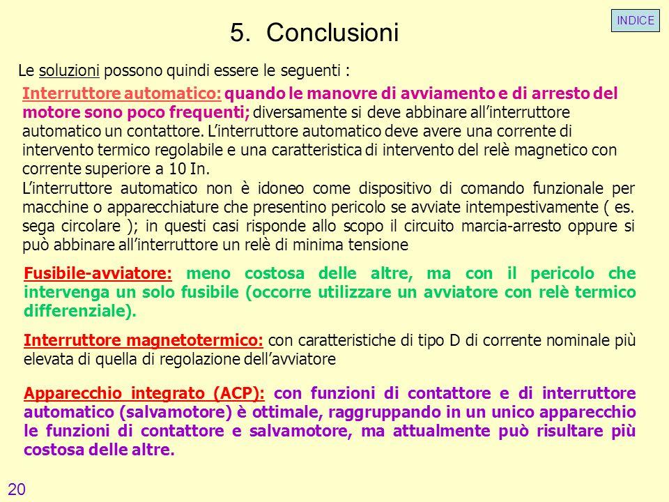 5. Conclusioni 20 Le soluzioni possono quindi essere le seguenti :