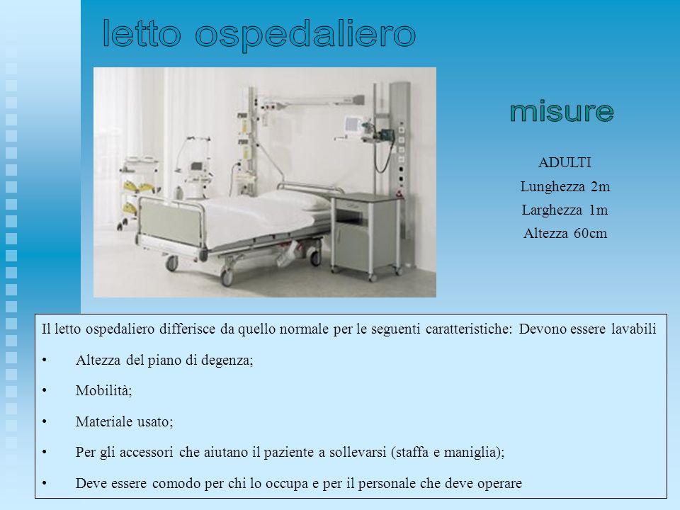 letto ospedaliero misure ADULTI Lunghezza 2m Larghezza 1m Altezza 60cm