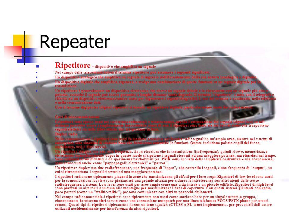 Repeater Ripetitore – dispositivo che amplifica un segnale