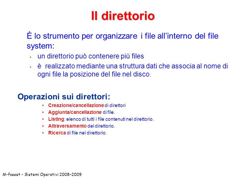 Il direttorio È lo strumento per organizzare i file all'interno del file system: un direttorio può contenere più files.