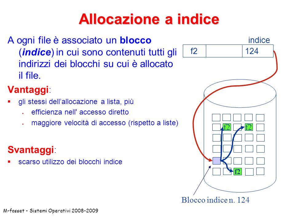 Allocazione a indice A ogni file è associato un blocco (indice) in cui sono contenuti tutti gli indirizzi dei blocchi su cui è allocato il file.