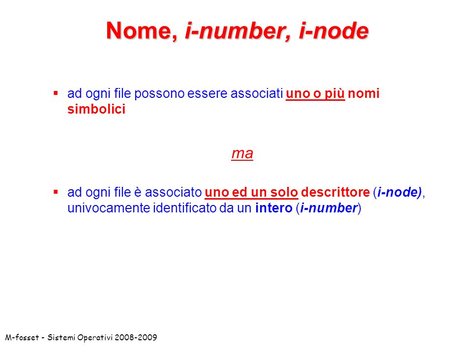 Nome, i-number, i-node ma