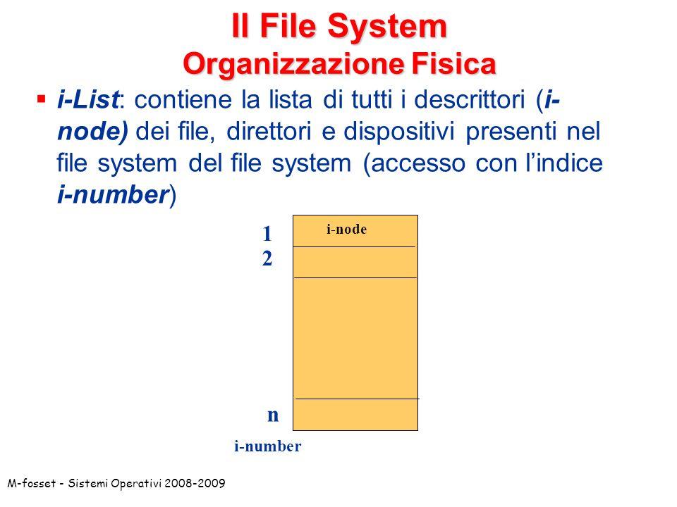 Il File System Organizzazione Fisica