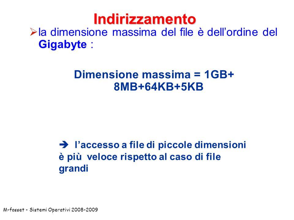 Dimensione massima = 1GB+ 8MB+64KB+5KB