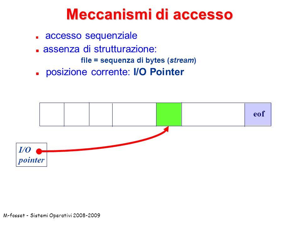 Meccanismi di accesso assenza di strutturazione: