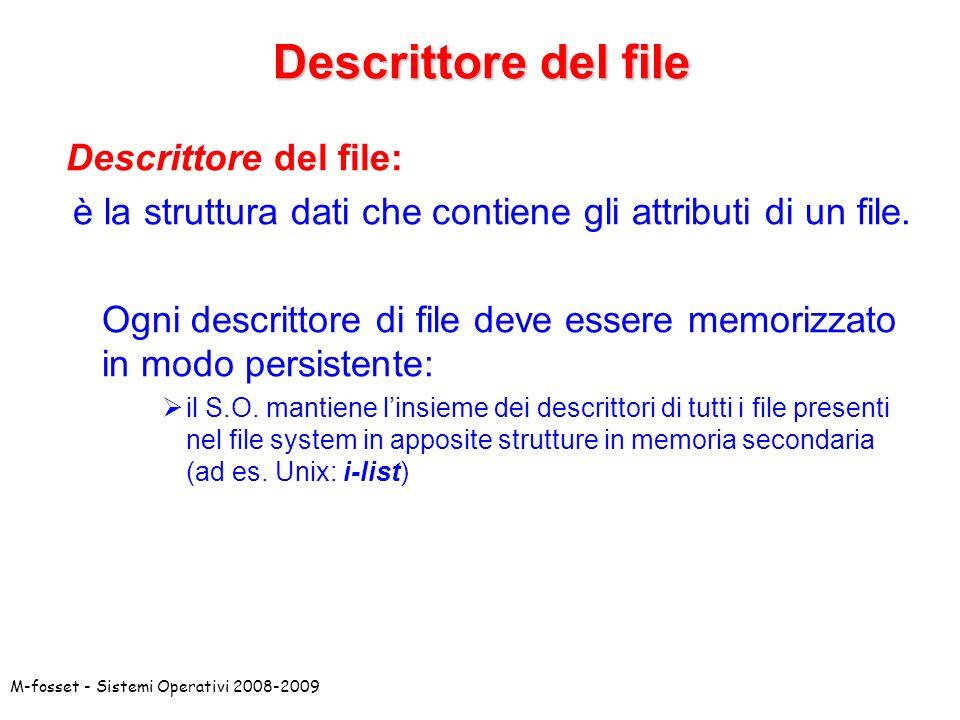 è la struttura dati che contiene gli attributi di un file.