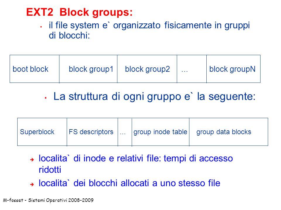 La struttura di ogni gruppo e` la seguente: