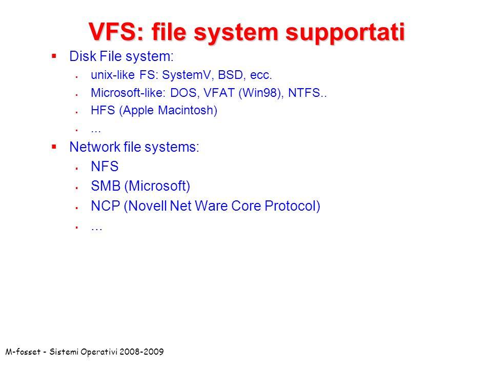 VFS: file system supportati