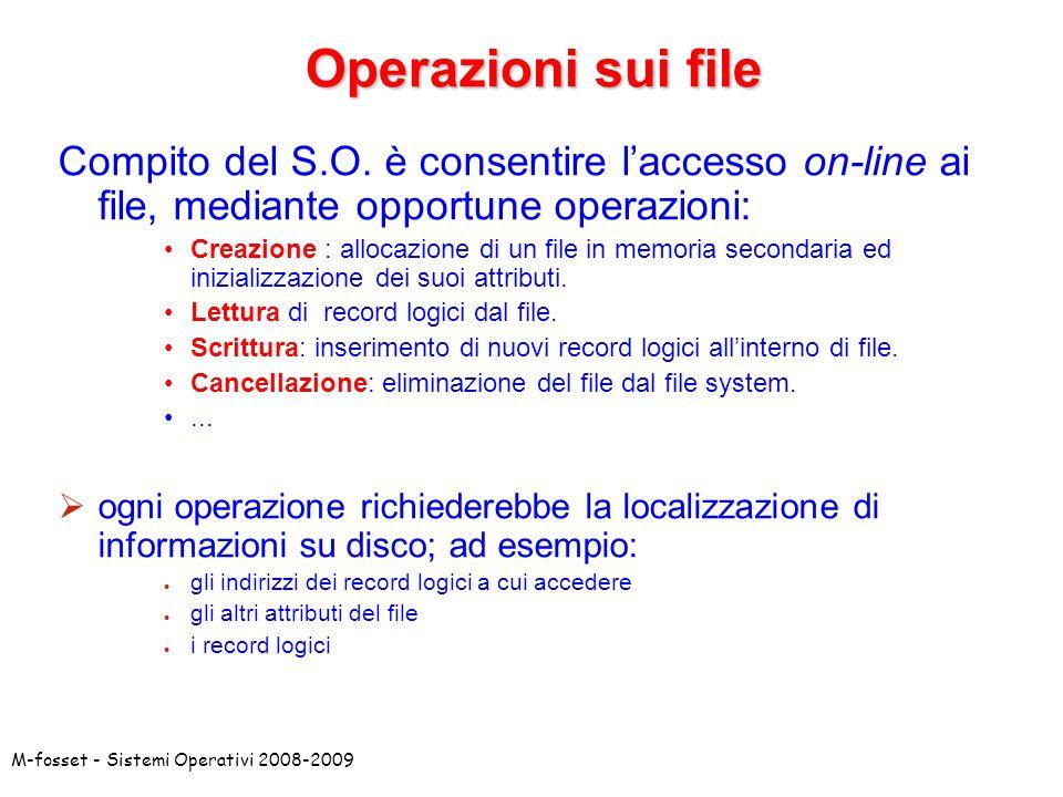 Operazioni sui file Compito del S.O. è consentire l'accesso on-line ai file, mediante opportune operazioni: